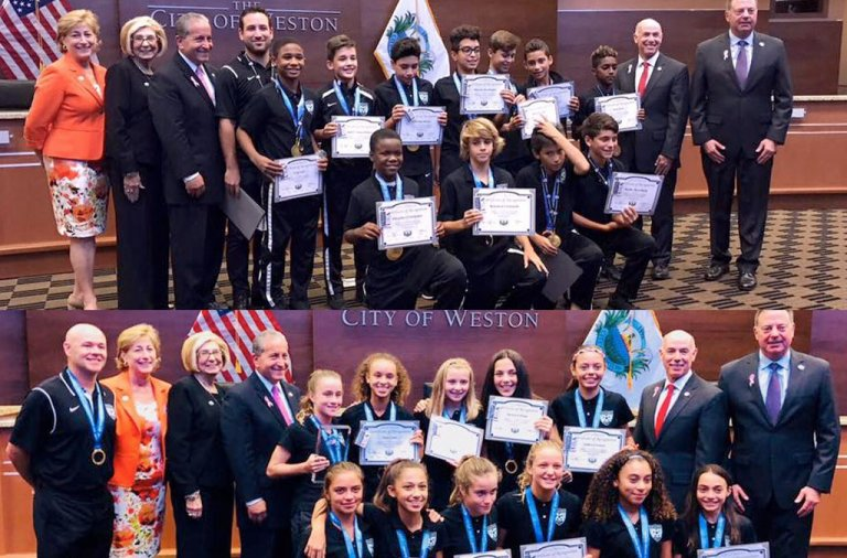 Weston FC Danone boys and girls being recognized by the City of Weston last night.